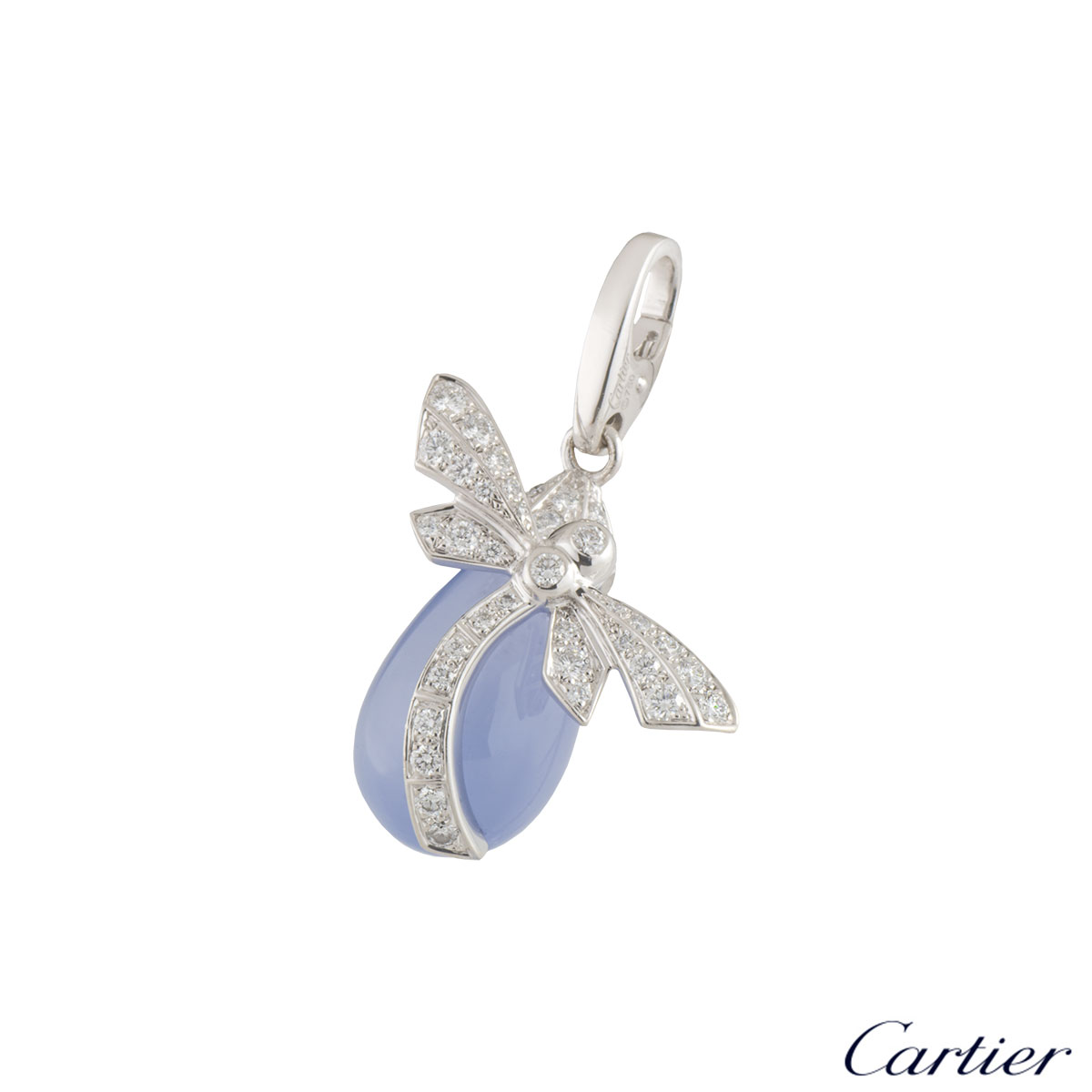 Cartier White Gold Diamond and Chalcedony Dragonfly Charm
